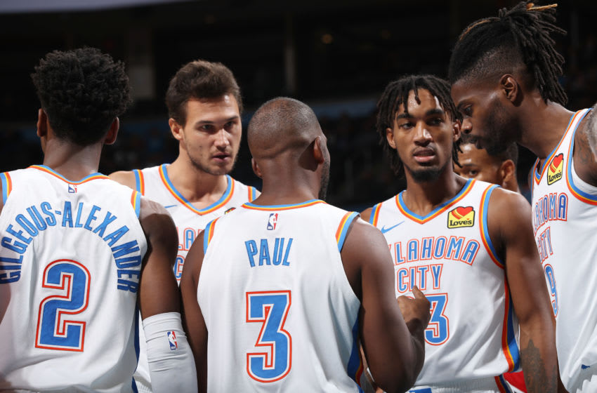 The OKC Thunder huddle up during a game against the Portland Trail Blazers (Photo by Zach Beeker/NBAE via Getty Images)