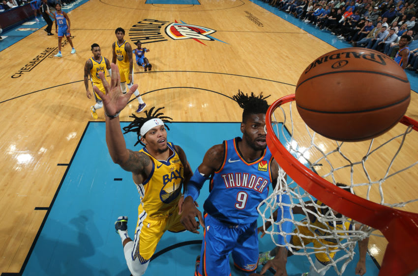 OKC Thunder NBA Power Rankings W4 Damion Lee #1 of the Golden State Warriors and Nerlens Noel #9 of the OKC Thunder watch the ball as it goes in (Photo by Zach Beeker/NBAE via Getty Images)
