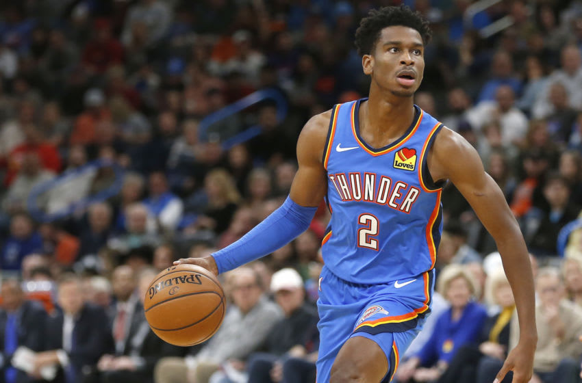 OKLAHOMA CITY, OK - NOVEMBER 02: Shai Gilgeous-Alexander #2 of the Oklahoma City Thunder looks on against the New Orleans Pelicans during the first half at Chesapeake Energy Arena on November 2, 2019 in Oklahoma City, Oklahoma. (Photo by Ron Jenkins/Getty Images)