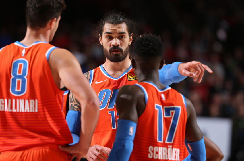 Steven Adams #12 of the OKC Thunder talks with his teammates during the game against the Portland Trail Blazers (Photo by Sam Forencich/NBAE via Getty Images)
