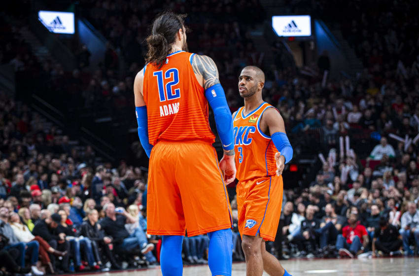 OKC Thunder Power Rankings week 7: Steven Adams #12 and Chris Paul #3 of the OKC Thunder talk during the game vs. Portland Trail Blazers (Photo by Zach Beeker/NBAE via Getty Images)