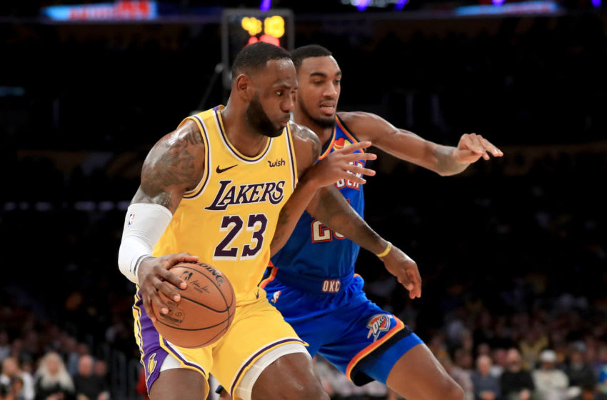 OKC Thunder - Lakers player availability for August 5 game. Terrance Ferguson #23 defends against LeBron James (Photo by Sean M. Haffey/Getty Images)