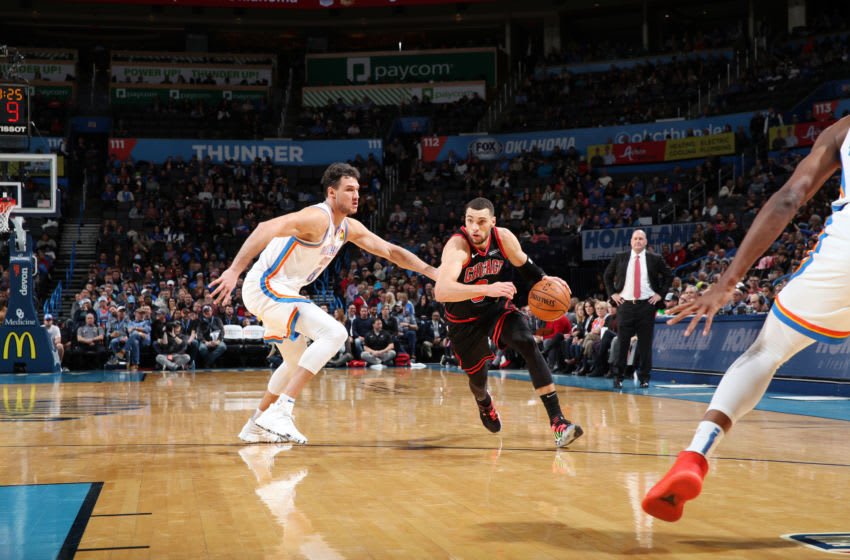 DECEMBER 16: Zach LaVine #8 of the Chicago Bulls handles the ball during a game against the OKC Thunder (Photo by Zach Beeker/NBAE via Getty Images)
