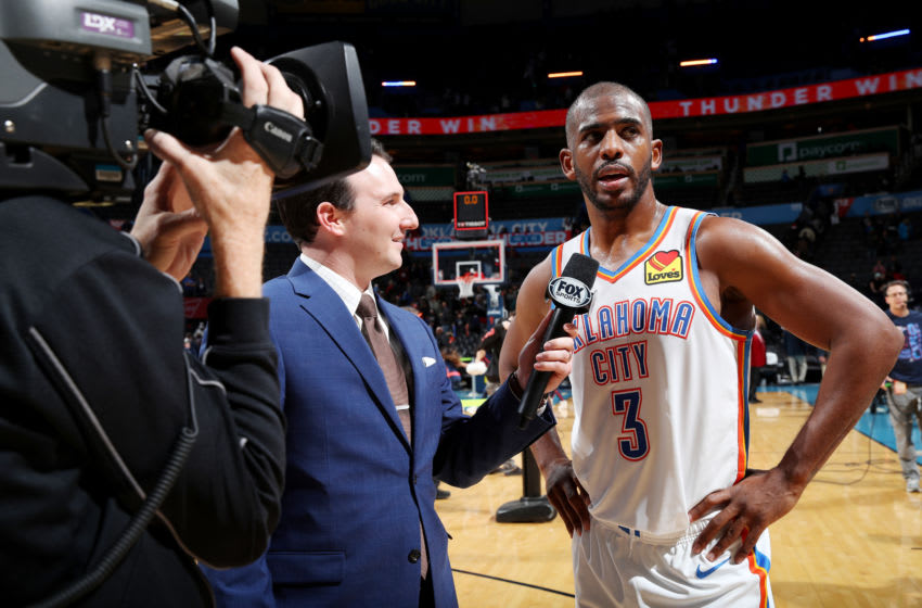 DECEMBER 16: Chris Paul #3 of the Oklahoma City Thunder gets interviewed after a game against the Chicago Bulls (Photo by Zach Beeker/NBAE via Getty Images)