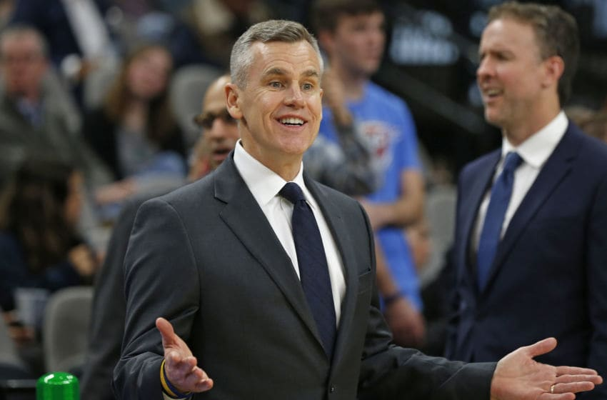JANUARY 2: Head coach of the OKC Thunder Billy Donovan talks with his players before the start of their game against the San Antonio Spurs (Photo by Ronald Cortes/Getty Images)