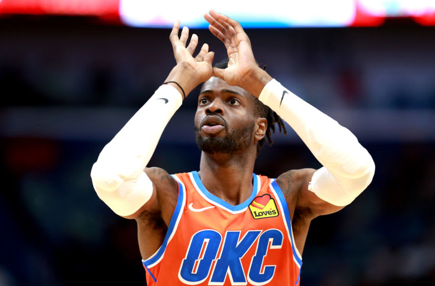 Nerlens Noel #9 of the OKC Thunder practices a free throw during a NBA game against the New Orleans Pelicans. (Photo by Sean Gardner/Getty Images)