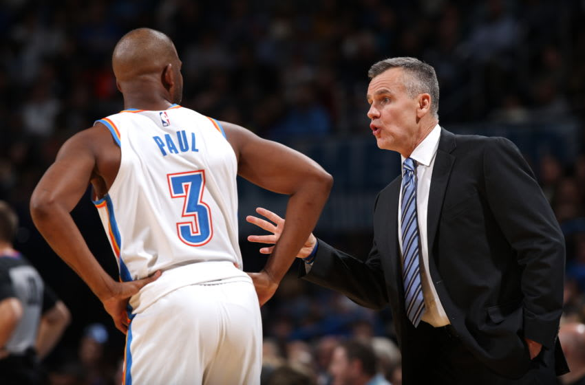 OKC Thunder Power Ranking Week 11: Chris Paul #3 shares a conversation with Head Coach, Billy Donovan (Photo by Zach Beeker/NBAE via Getty Images)