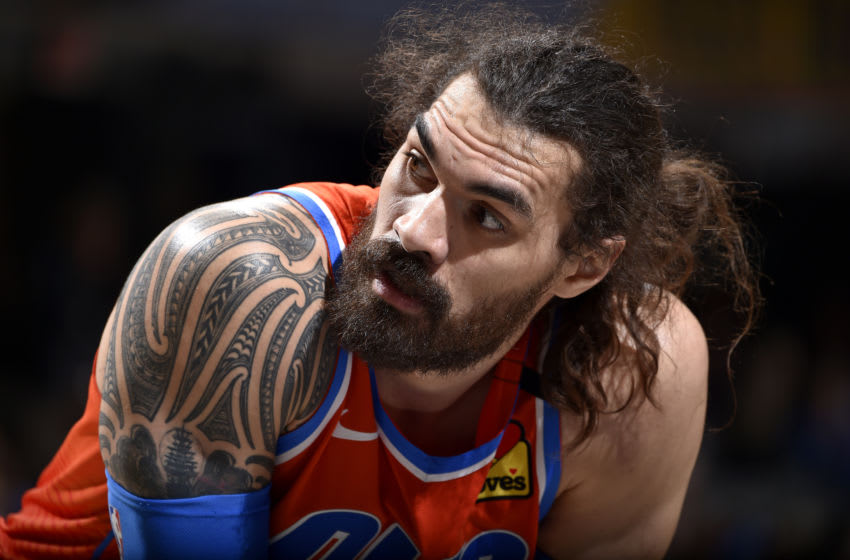 JANUARY 4: Steven Adams #12 of the Oklahoma City Thunder looks on during a game against the Cleveland Cavaliers (Photo by David Liam Kyle/NBAE via Getty Images)