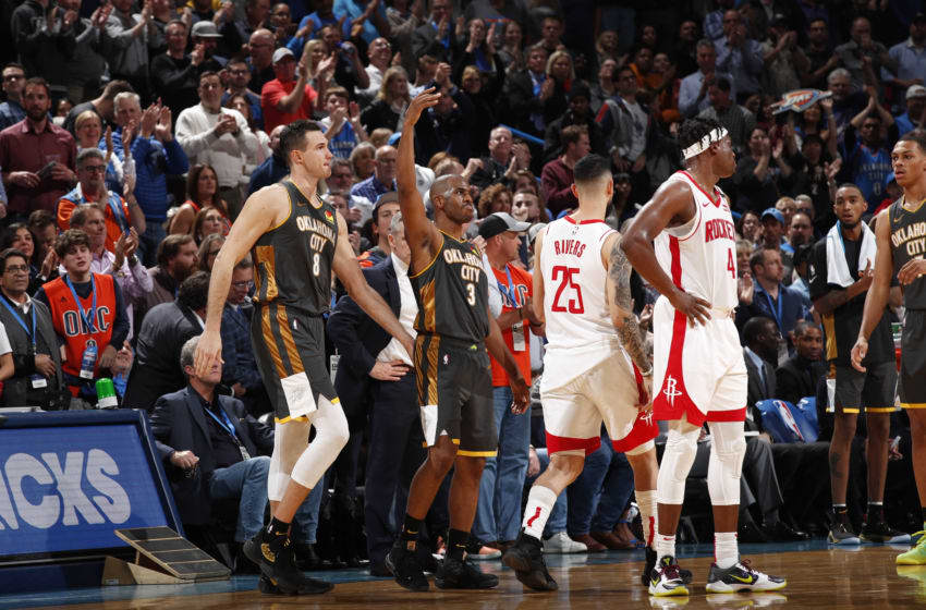 OKC Thunder, Power rankings week 12: Chris Paul #3 of the OKC Thunder reacts to play against the Houston Rockets (Photo by Jeff Haynes/NBAE via Getty Images)