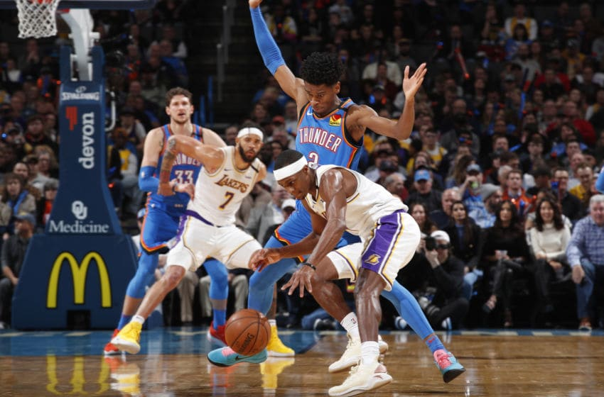 JANUARY 11: Rajon Rondo #9 of the Los Angeles Lakers handles the ball against the OKC Thunder (Photo by Jeff Haynes/NBAE via Getty Images)