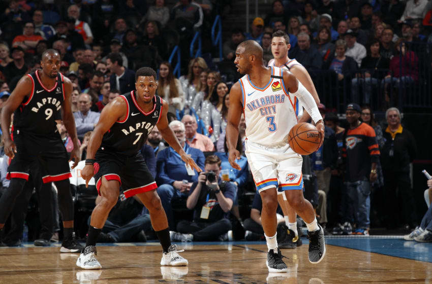 OKC Thunder Power Ranking W13 Chris Paul #3 of the Oklahoma City Thunder handles the ball during the game against the Toronto Raptors (Photo by Jeff Haynes/NBAE via Getty Images)