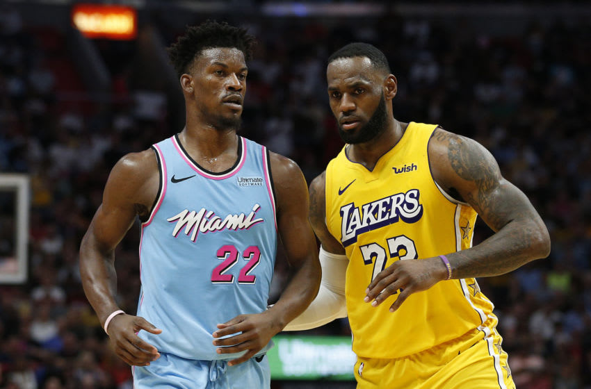 OKC Thunder prepare to watch NBA Finals: LeBron James #23 of the Los Angeles Lakers guards Jimmy Butler #22 of the Miami Heat (Photo by Michael Reaves/Getty Images)