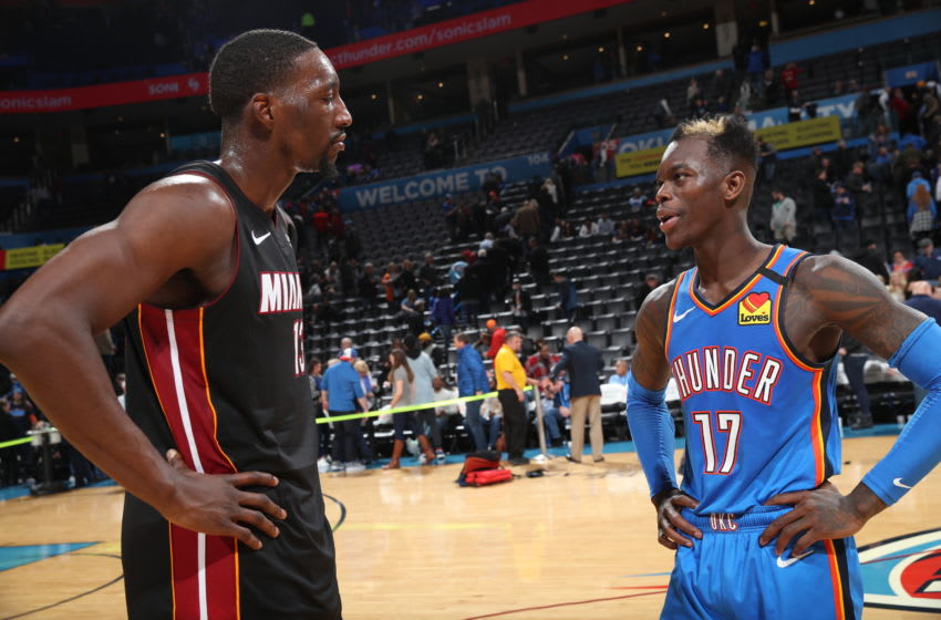 JANUARY 17: Bam Adebayo #13 of the Miami Heat and Dennis Schroder #17 of the OKC Thunder talk after game (Photo by Zach Beeker/NBAE via Getty Images)