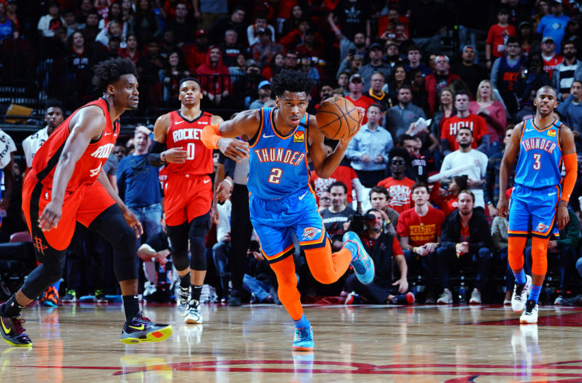 JANUARY 20: Shai Gilgeous-Alexander #2 of the Oklahoma City Thunder handles the ball during the game against the Houston Rockets (Photo by Cato Cataldo/NBAE via Getty Images)