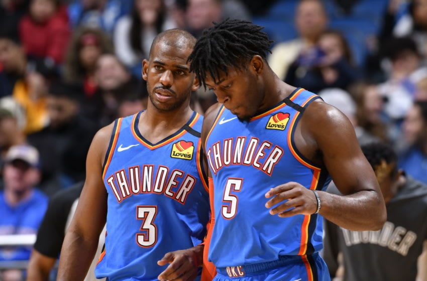 JANUARY 22: Chris Paul #3 and Luguentz Dort #5 of the OKC Thunder talk during the game against the Orlando Magic (Photo by Fernando Medina/NBAE via Getty Images)