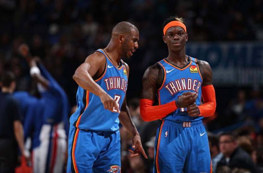 FEBRUARY 7: Chris Paul #3 and Dennis Schroder #17 of the OKC Thunder talk during the game against the Detroit Pistons (Photo by Zach Beeker/NBAE via Getty Images)