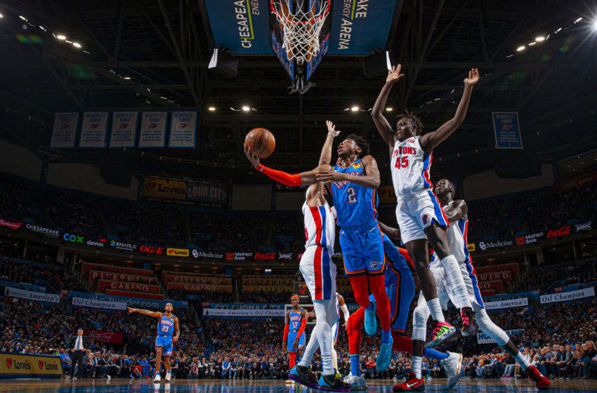 Shai Gilgeous-Alexander #2 of the OKC Thunder shoots the ball against the Detroit Pistons (Photo by Zach Beeker/NBAE via Getty Images)