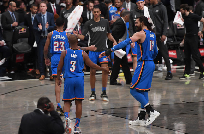 Chris Paul #3 and Steven Adams #12 of the OKC Thunder in action during the game against the Brooklyn Nets at Barclays Center. (Photo by Matteo Marchi/Getty Images)