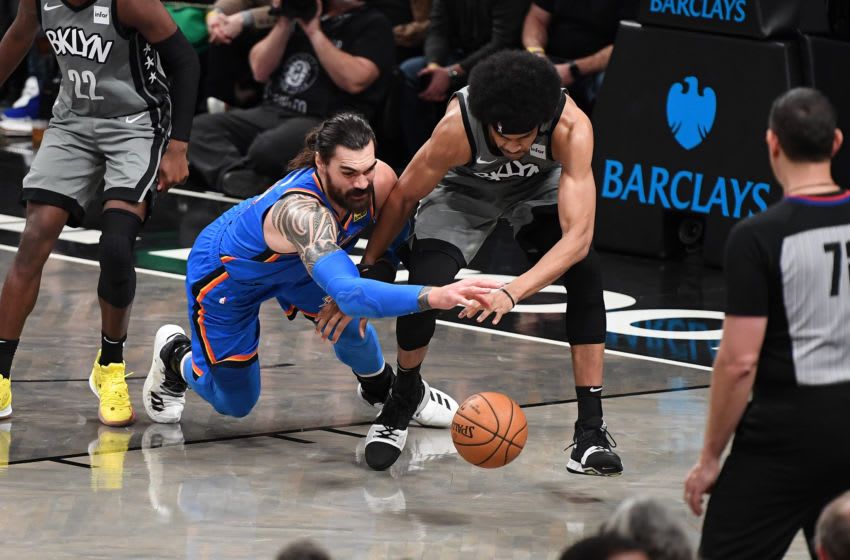 Steven Adams #12 of the OKC Thunder in action against Jarrett Allen #31 the Brooklyn Nets. (Photo by Matteo Marchi/Getty Images)