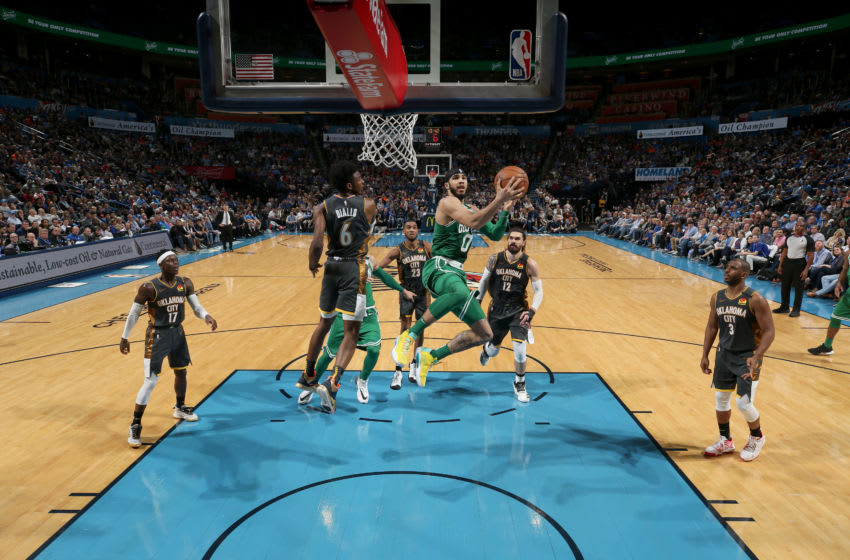 FEBRUARY 9: Jayson Tatum #0 of the Boston Celtics shoots the ball against the OKC Thunder (Photo by Zach Beeker/NBAE via Getty Images)