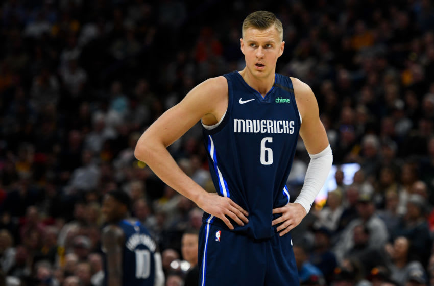 SALT LAKE CITY, UT - JANUARY 25: Kristaps Porzingis #6 of the Dallas Mavericks looks on during a game against the Utah Jazz at Vivint Smart Home Arena on January 25, 2019 in Salt Lake City, Utah. NOTE TO USER: User expressly acknowledges and agrees that, by downloading and/or using this photograph, user is consenting to the terms and conditions of the Getty Images License Agreement. (Photo by Alex Goodlett/Getty Images)