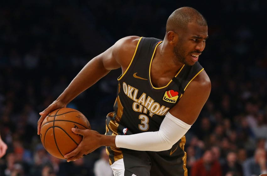 Chris Paul #3 of the OKC Thunder in action. (Photo by Mike Stobe/Getty Images)
