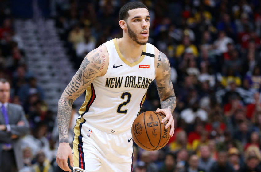 NEW ORLEANS, LOUISIANA - MARCH 01: Lonzo Ball #2 of the New Orleans Pelicans drives with the ball against the Los Angeles Lakers during the first half at the Smoothie King Center on March 01, 2020 in New Orleans, Louisiana. NOTE TO USER: User expressly acknowledges and agrees that, by downloading and or using this Photograph, user is consenting to the terms and conditions of the Getty Images License Agreement. (Photo by Jonathan Bachman/Getty Images)