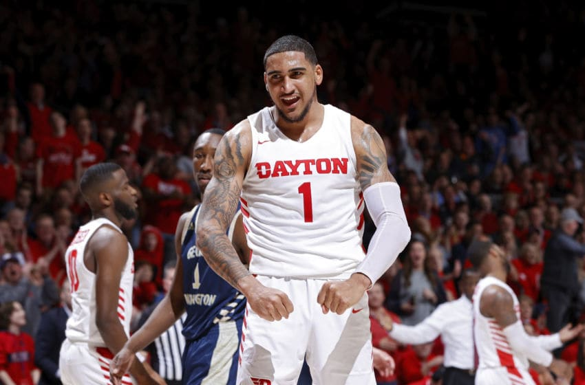 OKC Thunder, draft: Obi Toppin #1 of the Dayton Flyers reacts after a dunk in the second half of a game . (Photo by Joe Robbins/Getty Images)