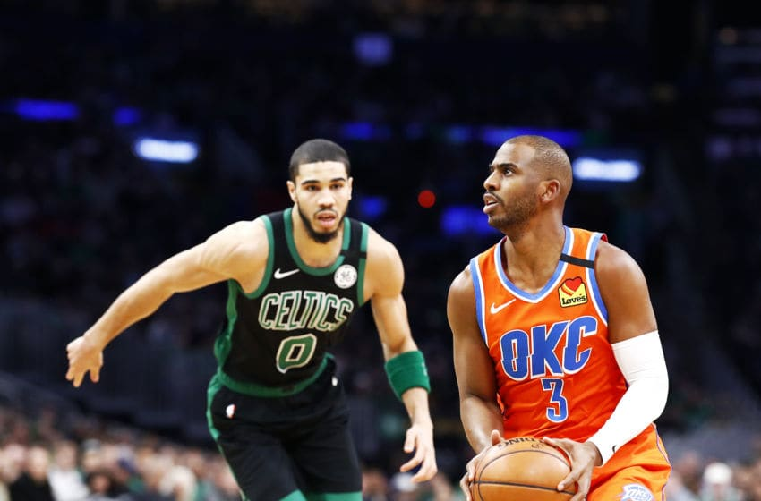 MARCH 08: Chris Paul #3 of the OKC Thunder looks to shoot against the Boston Celtics. (Photo by Omar Rawlings/Getty Images)