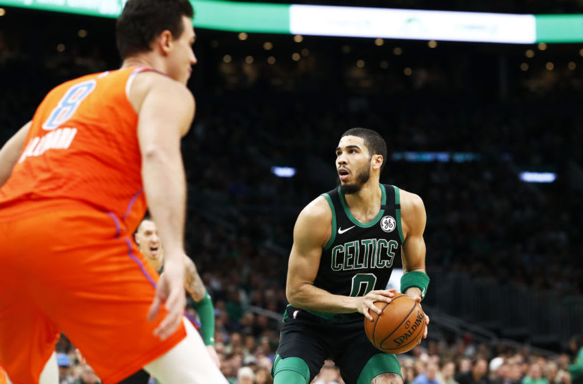 Jayson Tatum #0 of the Boston Celtics looks to shoot against the OKC Thunder. (Photo by Omar Rawlings/Getty Images)