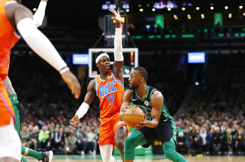 MARCH 08: Kemba Walker #8 of the Boston Celtics looks to pass during the fourth quarter of the game against the OKC Thunder (Photo by Omar Rawlings/Getty Images)