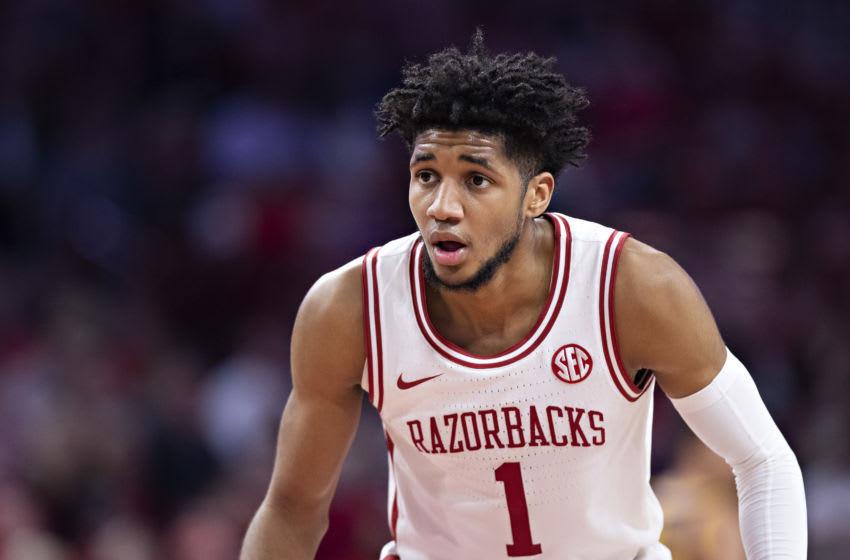 OKC Thunder 2020 Draft: Isaiah Joe #1 of the Arkansas Razorbacks plays defense during a game against the LSU Tigers. (Photo by Wesley Hitt/Getty Images)