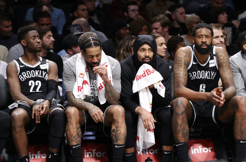 OKC Thunder avoid positive COVID-19 results so far Caris LeVert #22, Wilson Chandler #21, Spencer Dinwiddie #26 and DeAndre Jordan #6 of the Brooklyn Nets (Photo by Paul Bereswill/Getty Images)