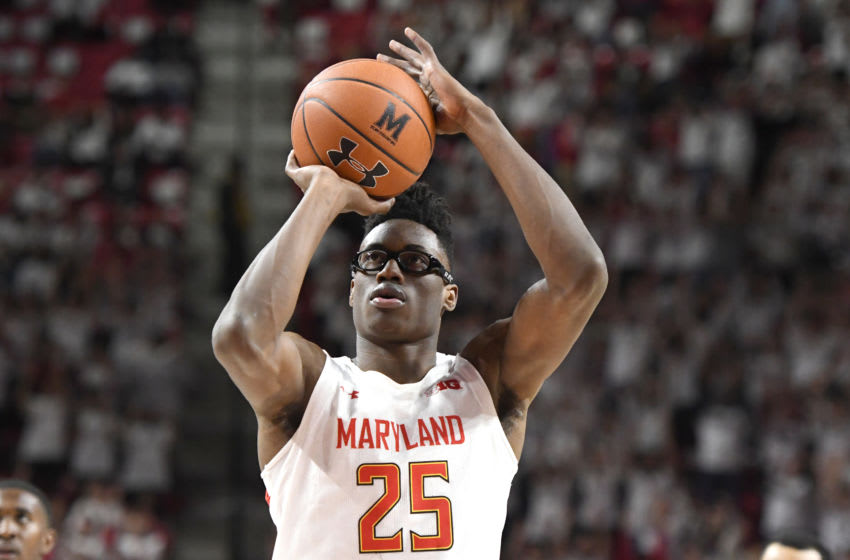 OKC Thunder 2020 Draft: COLLEGE PARK, MD - MARCH 08: Jalen Smith #25 of the Maryland Terrapins takes a foul shot. (Photo by Mitchell Layton/Getty Images)