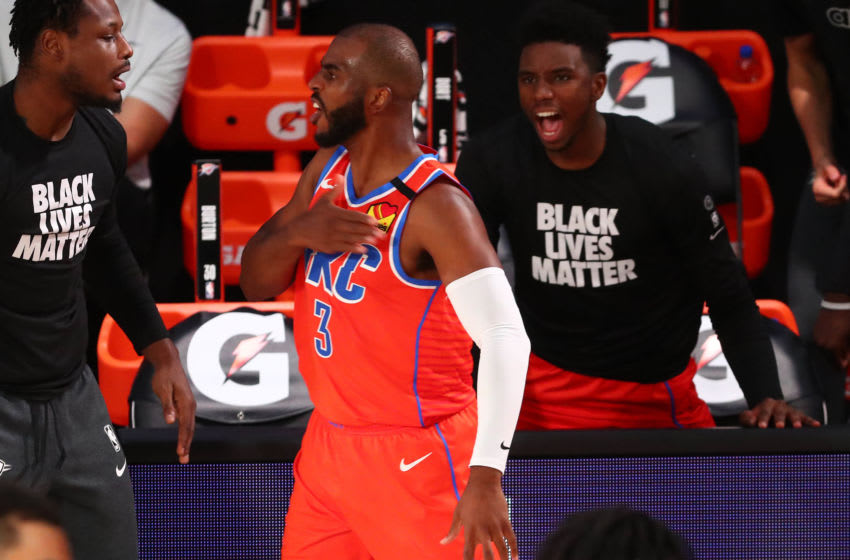 AUGUST 07: Chris Paul #3 of the OKC Thunder reacts after scoring a three point basket to end the first half against the Memphis Grizzlies. (Photo by Kim Klement-Pool/Getty Images)