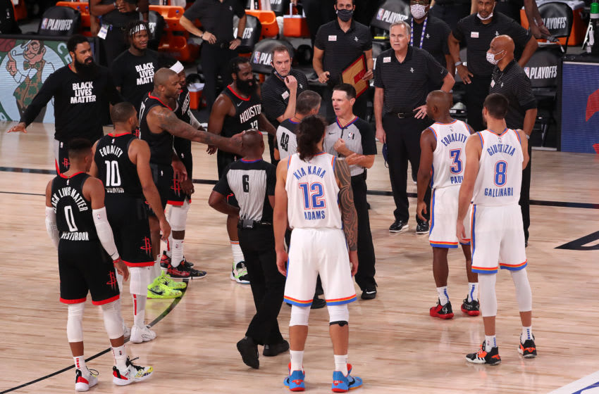 OKC Thunder argue over a call. (Photo by Mike Ehrmann/Getty Images)