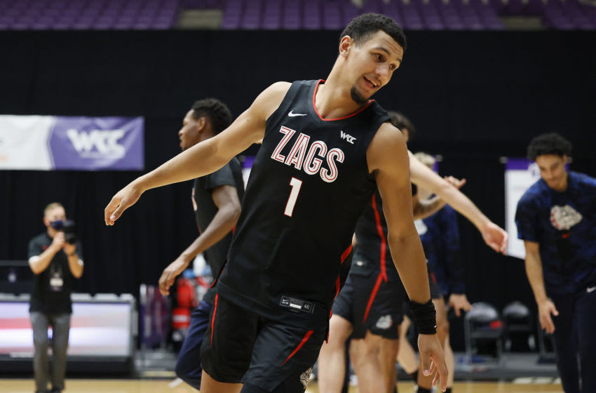 PORTLAND, OREGON - JANUARY 09: Jalen Suggs #1 of the Gonzaga Bulldogs takes the floor during player introductions prior to a game against the Portland Pilots at Chiles Center on January 09, 2021 in Portland, Oregon. (Photo by Soobum Im/Getty Images)