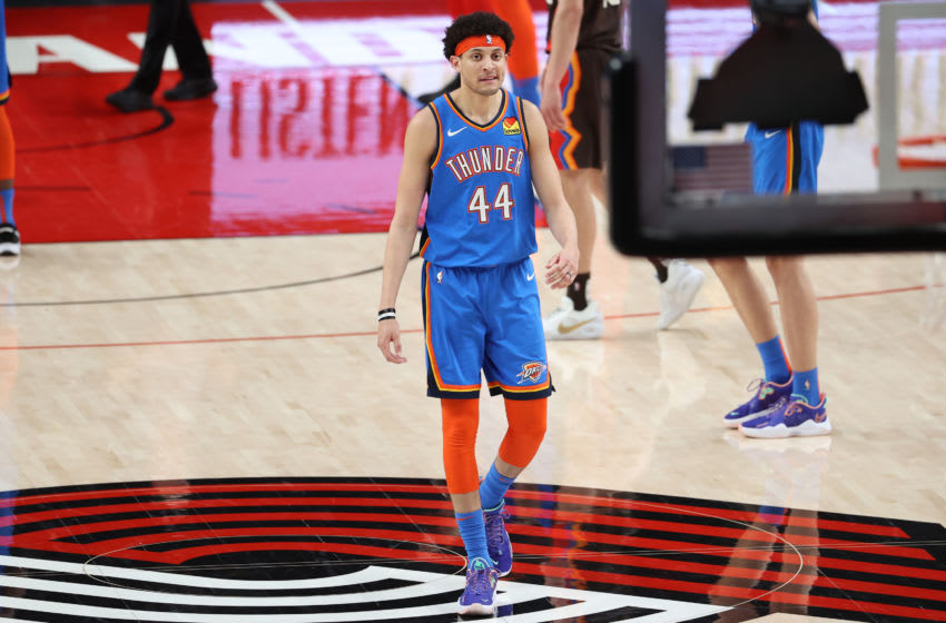 PORTLAND, OREGON - APRIL 03: Justin Jackson #44 of the Oklahoma City Thunder reacts in the fourth quarter against the Portland Trail Blazers at Moda Center on April 03, 2021 in Portland, Oregon. NOTE TO USER: User expressly acknowledges and agrees that, by downloading and or using this photograph, User is consenting to the terms and conditions of the Getty Images License Agreement. (Photo by Abbie Parr/Getty Images)