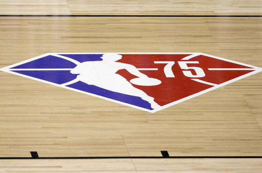 OKC Thunder: A diamond-themed logo commemorating the NBA's 75th anniversary is shown on the court. (Photo by Ethan Miller/Getty Images)
