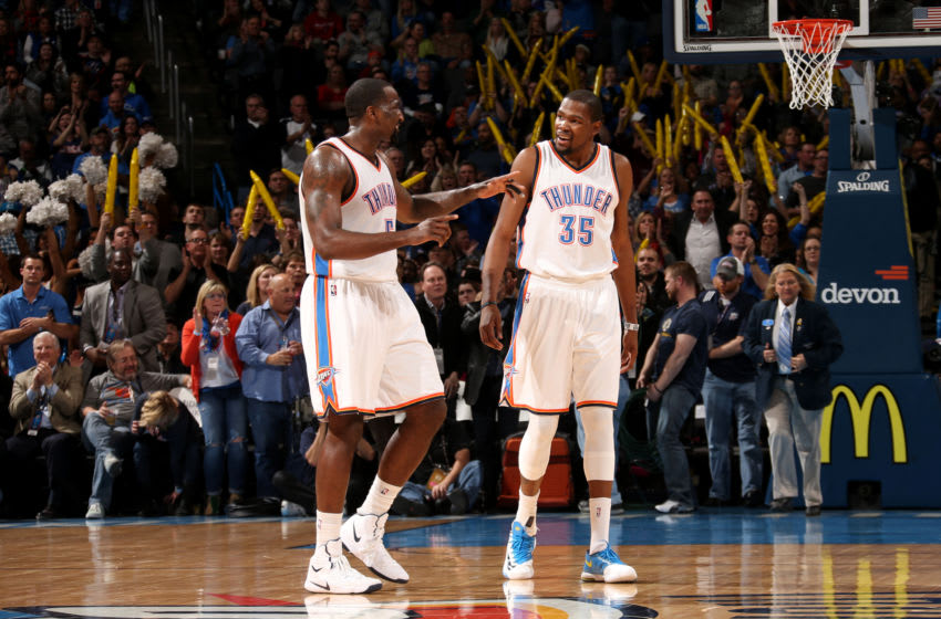 Kendrick Perkins and Kevin Durant of the OKC Thunder (Photo by Layne Murdoch/NBAE via Getty Images)