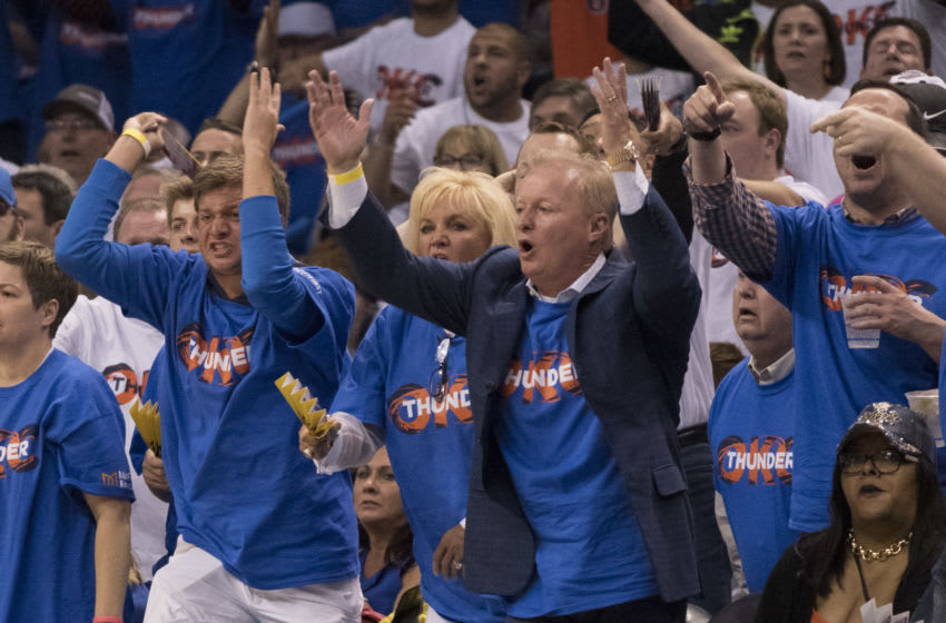 OKLAHOMA CITY, OK - APRIL 21: Oklahoma City Thunder fans react during the second half of Game Three against the Houston Rockets in the 2017 NBA Playoffs Western Conference Quarterfinals on April 21, 2017 in Oklahoma City, Oklahoma. Oklahoma City defeated Houston 115-113 NOTE TO USER: User expressly acknowledges and agrees that, by downloading and or using this photograph, User is consenting to the terms and conditions of the Getty Images License Agreement. (Photo by J Pat Carter/Getty Images)