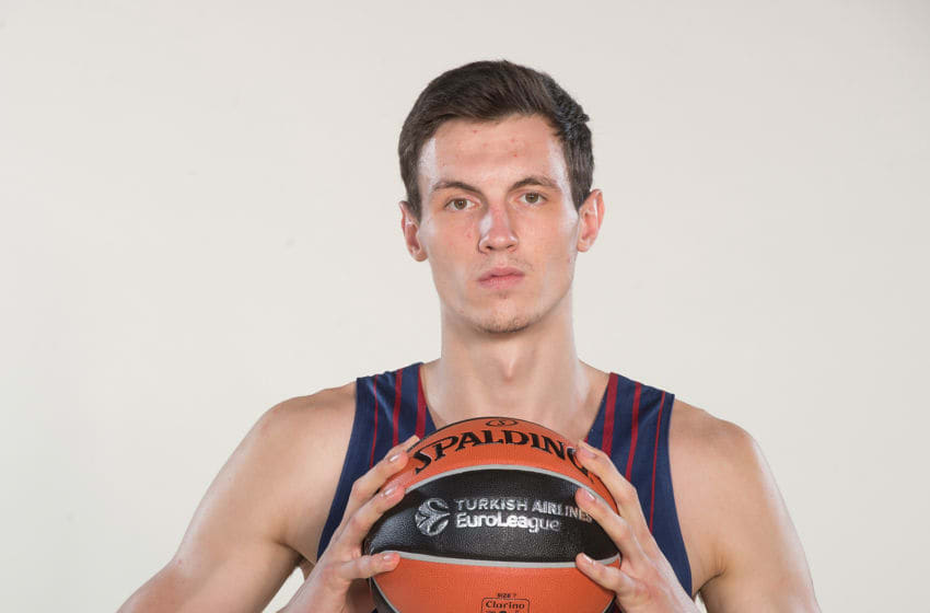 BARCELONA, SPAIN - SEPTEMBER 25: Rodions Kurucs, #17 poses during FC Barcelona Lassa 2017/2018 Turkish Airlines EuroLeague Media Day at Palau Blaugrana on September 25, 2017 in Barcelona, Spain. (Photo by Rodolfo Molina/EB via Getty Images)