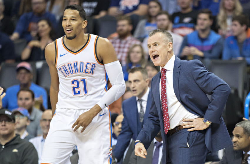 Head Coach Billy Donovan and Andre Roberson #21 of the OKC Thunder argue a call (Photo by Wesley Hitt/Getty Images)