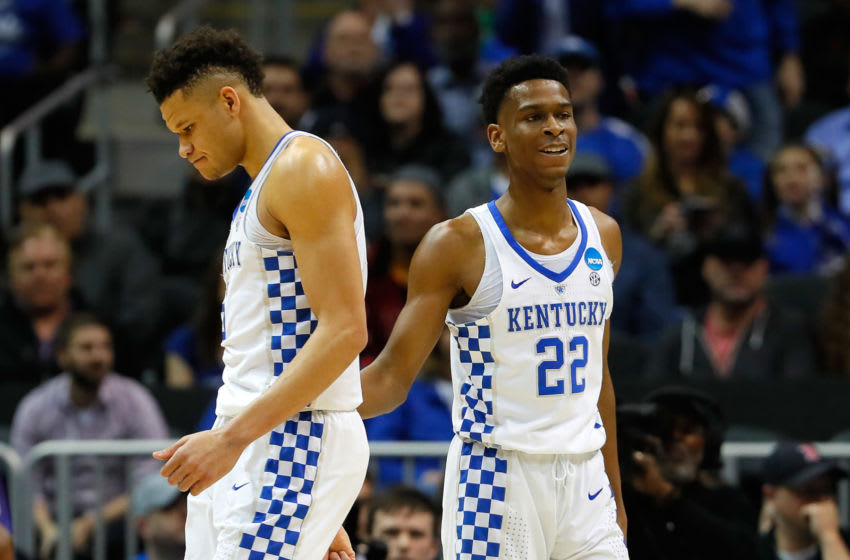 ATLANTA, GA - MARCH 22: Kevin Knox #5 and Shai Gilgeous-Alexander #22 of the Kentucky Wildcats react to a foul call in the first half against the Kansas State Wildcats during the 2018 NCAA Men's Basketball Tournament South Regional at Philips Arena on March 22, 2018 in Atlanta, Georgia. (Photo by Kevin C. Cox/Getty Images)