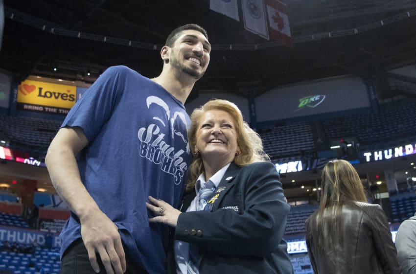 OKLAHOMA CITY, OK - APRIL 25: Former Utah Jazz and Oklahoma City Thunder and current New York Knicks player Enes Kanter poses for photos with fans before game 5 of the Western Conference playoffs at the Chesapeake Energy Arena on April 25, 2018 in Oklahoma City, Oklahoma. His shirt acknowledges his relationship to Steven Adams #12 of the Oklahoma City Thunder. NOTE TO USER: User expressly acknowledges and agrees that, by downloading and or using this photograph, User is consenting to the terms and conditions of the Getty Images License Agreement. (Photo by J Pat Carter/Getty Images)