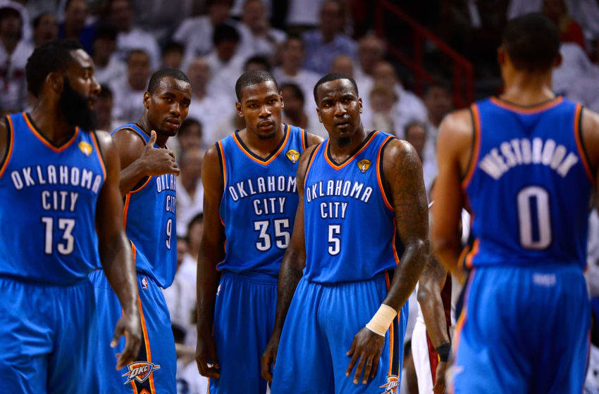 James Harden, Serge Ibaka, Kevin Durant, Kendrick Perkins and Russell Westbrook of the OKC Thunder vs Miami Heat G5 2012 NBA Finals. (Photo by Ronald Martinez/Getty Images)