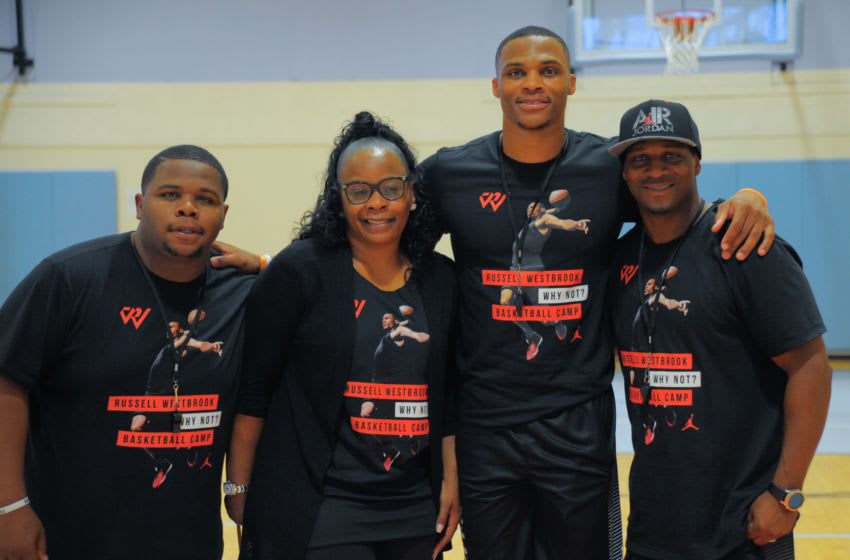 LOS ANGELES, CA - JULY 25: Raynard Westbrook, Shannon Westbrook, Russell Westbrook and Russell Westbrook Sr. attend the Russell Westbrook 5th Annual Why Not? Foundation Basketball Camp at Jesse Owens Community Regional Park on July 25, 2017 in Los Angeles, California. (Photo by Lilly Lawrence/Getty Images)
