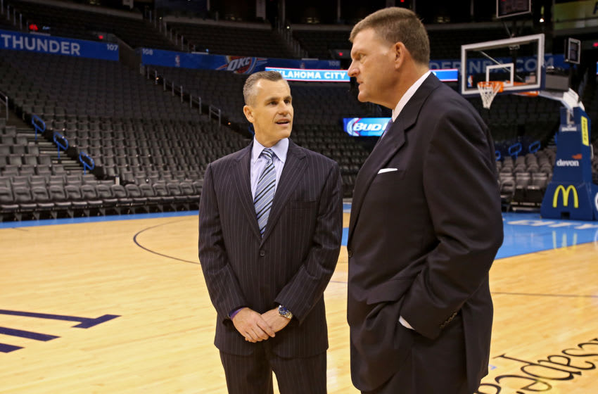 OKLAHOMA CITY, OK - MAY 01: Oklahoma City Head Coach Billy Donovan is welcomed by owner Clay Bennett to Chesapeake Energy Arena for the first time on May 01, 2015 at the Chesapeake Energy Arena in Oklahoma City, Oklahoma. NOTE TO USER: User expressly acknowledges and agrees that, by downloading and or using this Photograph, user is consenting to the terms and conditions of the Getty Images License Agreement. Mandatory Copyright Notice: Copyright 2015 NBAE (Photo by Layne Murdoch Jr./NBAE via Getty Images)