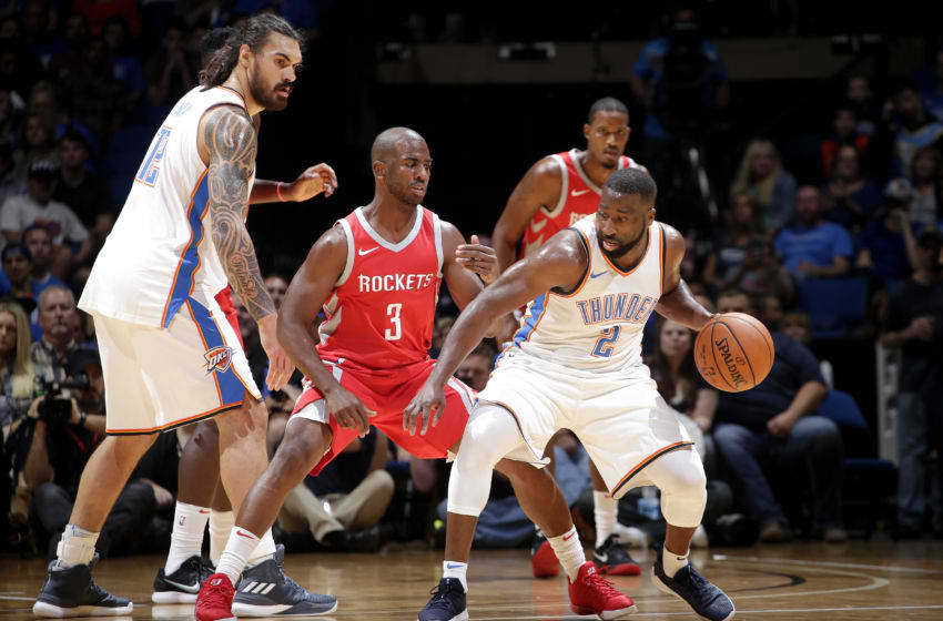 TULSA, OK- OCTOBER 3: Raymond Felton #2 of the OKC Thunder handles the ball against Chris Paul #3 of the Houston Rockets during the preseason game on October 3, 2017 at the BOK Center in Tulsa, Oklahoma. Copyright 2017 NBAE (Photo by Shane Bevel/NBAE via Getty Images)