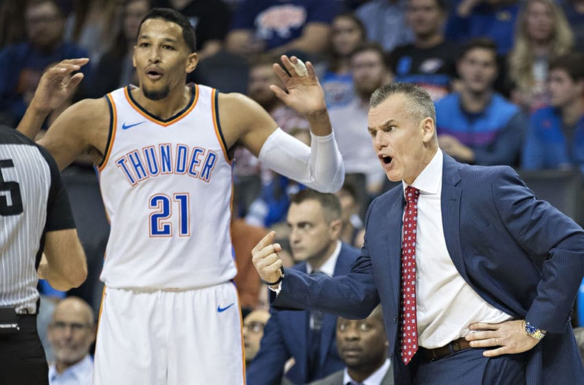 Head Coach Billy Donovan and Andre Roberson #21 of the OKC Thunder argue with a official. (Photo by Wesley Hitt/Getty Images)
